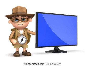 3d render of Explorer kid with new flatscreen television monitor