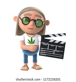 3d render of a hippy stoner holding a movie making clapperboard
