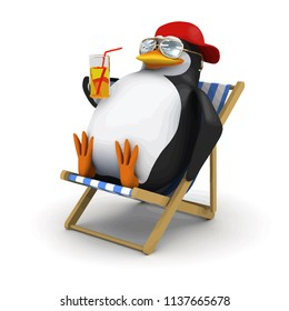 3d render of a penguin in deckchair with a cold drink