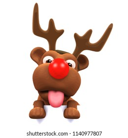 3d render of a puppy dog wearing reindeer antlers and a red nose