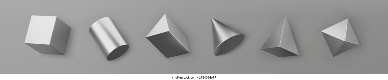 3d render silver geometric shapes objects set isolated on grey background. Steel glossy realistic primitives - cube, cylinder, cone, pyramid with shadows. Abstract decorative vector for trendy design