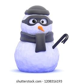 3d render of a snowman burglar