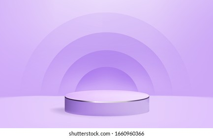 3D render vector of purple abstract geometric background platform. Bright purple 3d pastel podium or pedestal backdrop. purple minimal design concept. Stage purple 3d render for awards ceremony modern