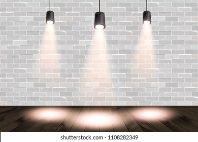 3d rendering illustration of big rough interior with stone wall, wooden floor and plinth. Room with three hanging lamps and bright spotlights. Studio, showroom, photostudio, stage. Vector