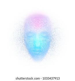 3d rendering of robot face with numbers on white background represent artificial intelligence. Future science, modern technology concept. 3d illustration