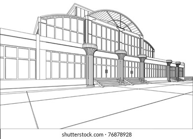 3D rendering wireframe of office building, white background. Concept - modern architecture, designing.