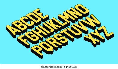 3D retro font vector aphabet.