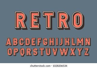3d retro font. Vintage vector typeface.