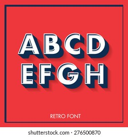 3d retro font/typeface/typography/lettering vector/illustration a,b,c,d,e,f,g,h,