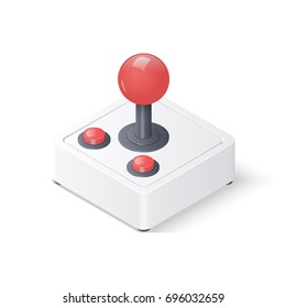 3D retro joystick gamepad isolated on white background. Isometric vector illustration