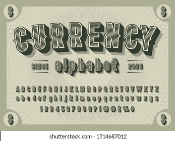 3D retro money alphabet design with decorative elements