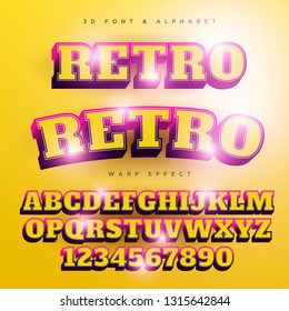 3D Retro Stylized Lettering Text, Font & Alphabet Template