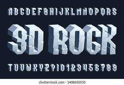 3D rock alphabet font. Cracked letters and numbers. Stock vector typescript for your typography design.
