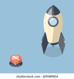 3d rocket spaceship and start button isolated on blue background. Startup concept. Isometric vector illustration