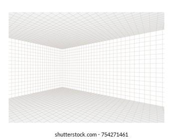 3D room corner interior. Minimalistic low polygon vector illustration.