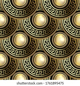 3d round mandalas Deco seamless pattern. Ornate jewelry greek background. Ornamental repeat vector backdrop. Luxury surface ornament. Abstract modern design. Golden gemstones. Greek key meanders.