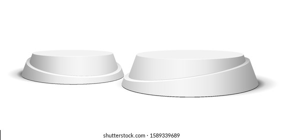 3D Round, Two Circle Stage Podium, Pedestal Isolated on White Background. Vector illustration. Ready For Your Design. Product Advertising. Vector EPS10