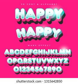 3D Rounded Stylized Lettering Text, Font & Alphabet Template