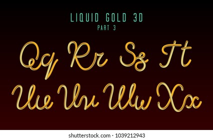 3D Rounded Vector Neon Font with Liquid Glow Effect. Gold Color. Hand-Drawn Lettering. Part 3