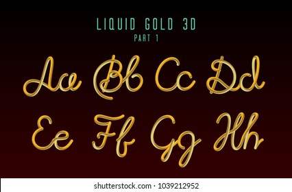 3D Rounded Vector Neon Font with Liquid Glow Effect. Gold Color. Hand-Drawn Lettering. Part 1