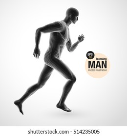 3d running man, black colored . Polygonal vector. Sport illustration