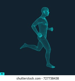 3d running man. Design for sport, business, science and technology. Vector illustration. Human body.