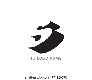 3D S letter vector with white background