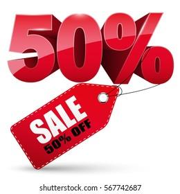 3d Sale tag, 50 percent off, vector illustration