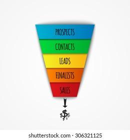 3D  Sales Funnel infographic. Vector illustration.