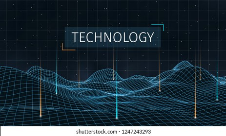 3d sci-fi retro connection background. Wireframe topography landscape. Blockchain and crypto currency technology background. Digital landscape. HUD elements. Big data and artificial intelligence.