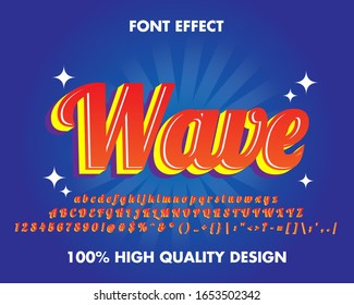 3d Script Text Effect Red gradient full set Alphabet and Number for Sticker. Premium Vector