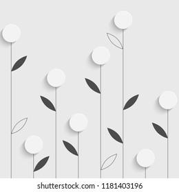 3d Seamless Flower Background. Vector Floral Pattern. Monochrome Regular Texture