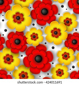3d seamless pattern with yellow and red flowers on a white background. Beautiful floral vector.
