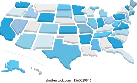 3d Separated American states map isolated on white background. Vector illustration