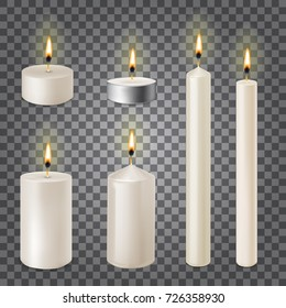 3d set realistic paraffin candles isolated on transparent background. Vector illustration