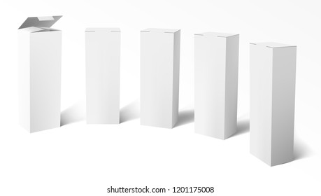 3D Set Of Realistic Vertical Tall White Cardboard Boxes. EPS10 Vector