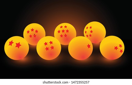 3D Seven Crystal Dragon Ball yellow with star Spherical ,Circle colorful glowing light Background Design vector