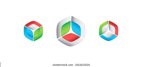 3d shaded boxes or cubes showing integration of pieces and symmetrical shapes. Connected vector abstract shapes for icon set or technology logo.