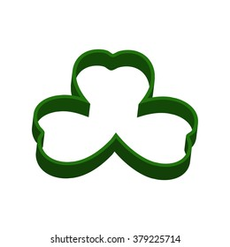 3d shamrock vector icon. Clover leaves. Isolated on white.