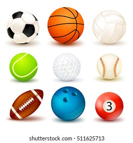 3d shape ball icon set with shadows isolated on the theme of various sports games vector illustration