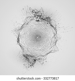 3D shape of particles array, wireframe and splashes. Ink stylized vector illustration