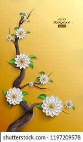 3D shape of a tree with golden arabesque style blossoms on golden background