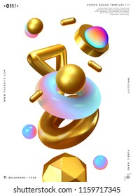 3d shape vector minimal poster. Abstract background with golden geometric elements.