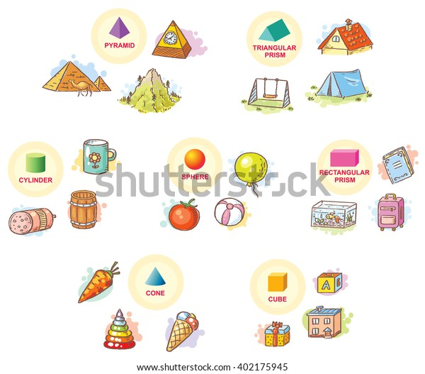 Cone In Real Life: 3d Shapes Example Objects Everyday Life Stock Vector