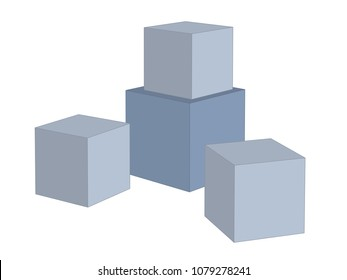3d shapes. perspective view of four cubes. vector illustration