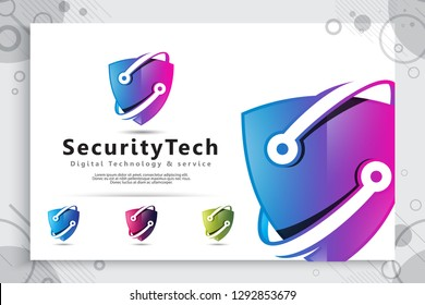 3d shield tech vector logo design with modern concept , abstract illustration symbol of cyber security  for digital template protection software company.