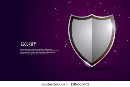 3D shield vector illustration with light and dots on dark purple background.