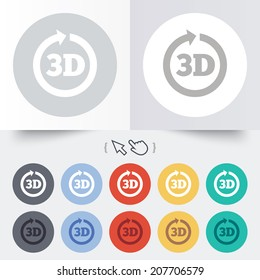 3D sign icon. 3D New technology symbol. Rotation arrow. Round 12 circle buttons. Shadow. Hand cursor pointer. Vector
