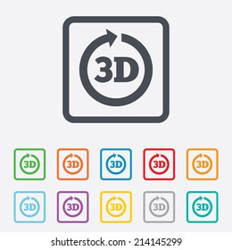 3D sign icon. 3D New technology symbol. Rotation arrow. Round squares buttons with frame. Vector