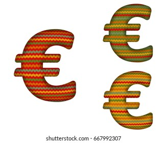 3D € Sign with a Knitted Effect in Red, Yellow and Green. Contains clipping masks